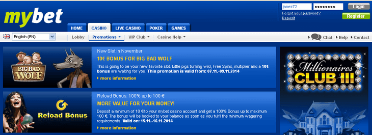 mybet casino bonus code no deposit